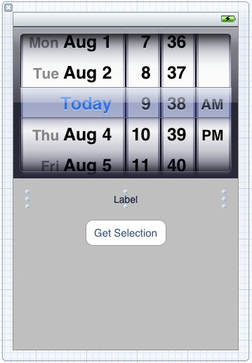 The user interface of an example iPhone iOS 5 UIDatePicker application