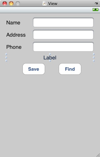 The user interface of the iPhone SQLite example applications