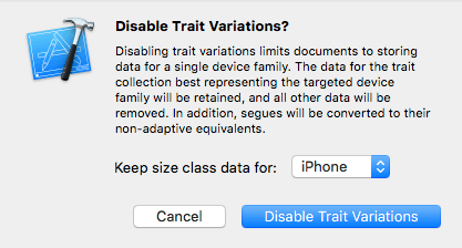 Disabling Trait Variations in Xcode
