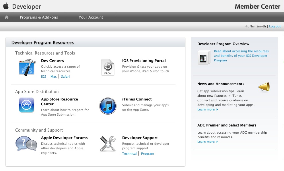 The Apple iOS 5 Developer Member Center after enrollment has been completed