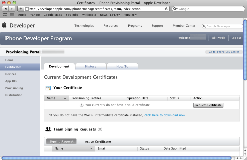The iOS Provisioning Portal Certificates Page
