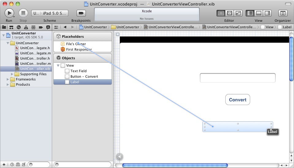 Connecting an Outlet in Xcode 4.3
