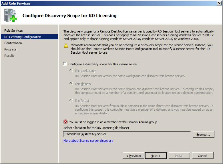 Configuring RD Licensing Discovery Scope