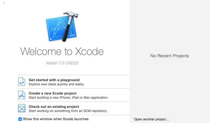 Xcode 7 welcome screen new.png