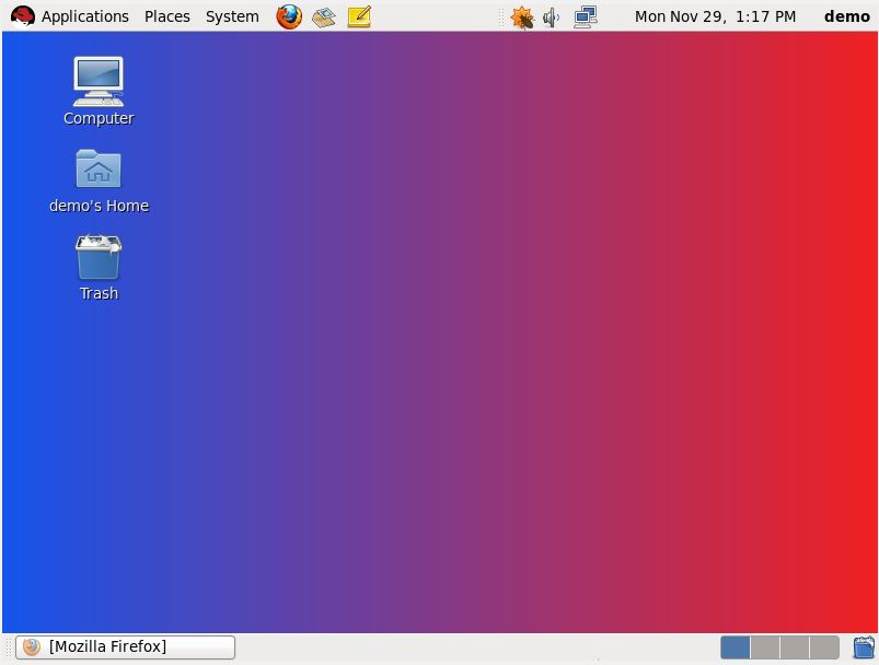 An RHEL 6 desktop background set up as a horizontal gradient