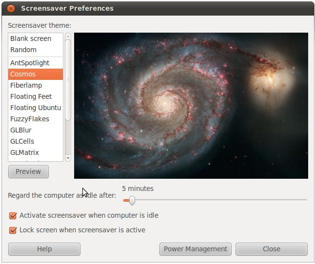 The Ubuntu 10.10 Screensaver Preferences dialog