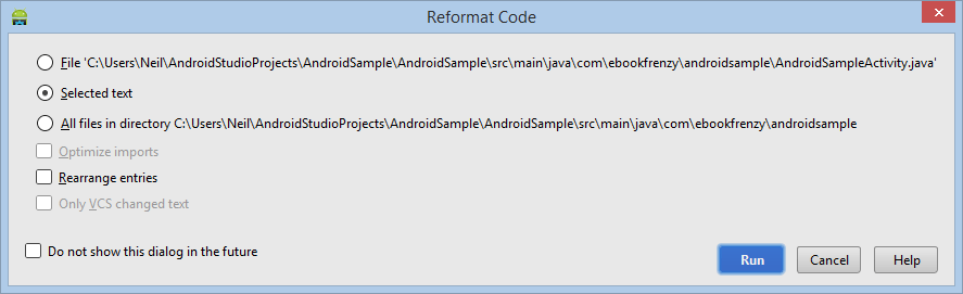 The Android Studio Editor Reformat Code dialog