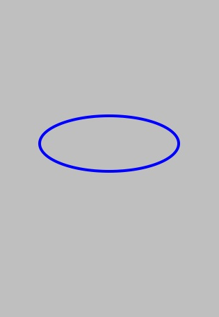 An ellipse drawn on an iPhone screen