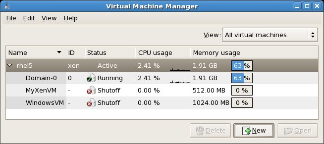 virt-manager main window with two virtual machines shutdown