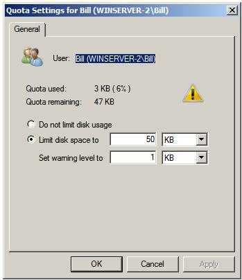 Viewing Windows Server 2008 User Quota Settings