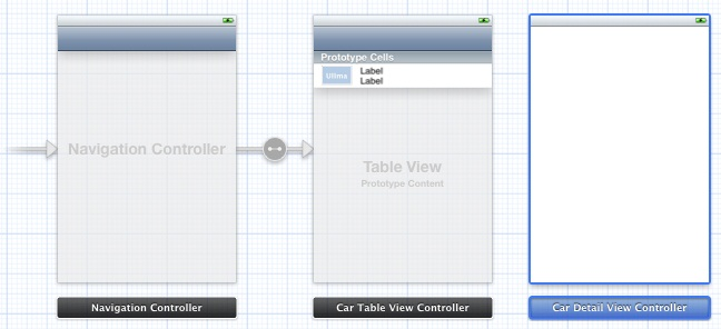 An Xcode iOS 5 storyboard with a table view and embedded view controller