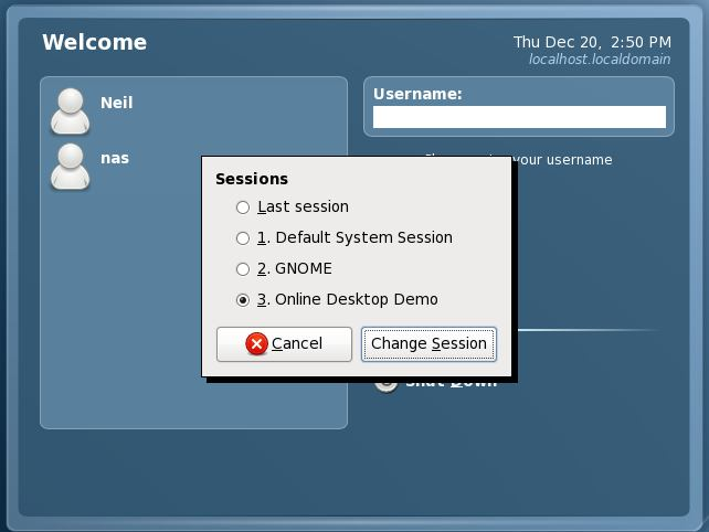 Selecting the GNOME Online Desktop Demo Session