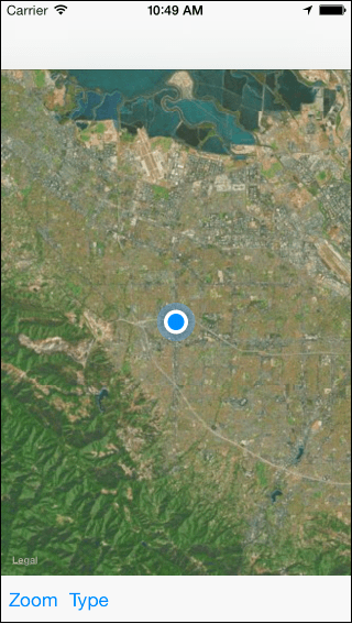 An iOS 7 MapView instance in satellite mode zoomed in