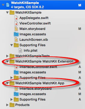 A WatchKit extension listed in Xcode 7