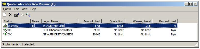 Viewing Windows Server 2008 Disk Quota Entries