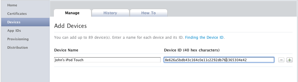 Adding devices in the iOS Provisioning Portal