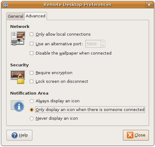 Configuring the Ubuntu remote desktop advanced settings