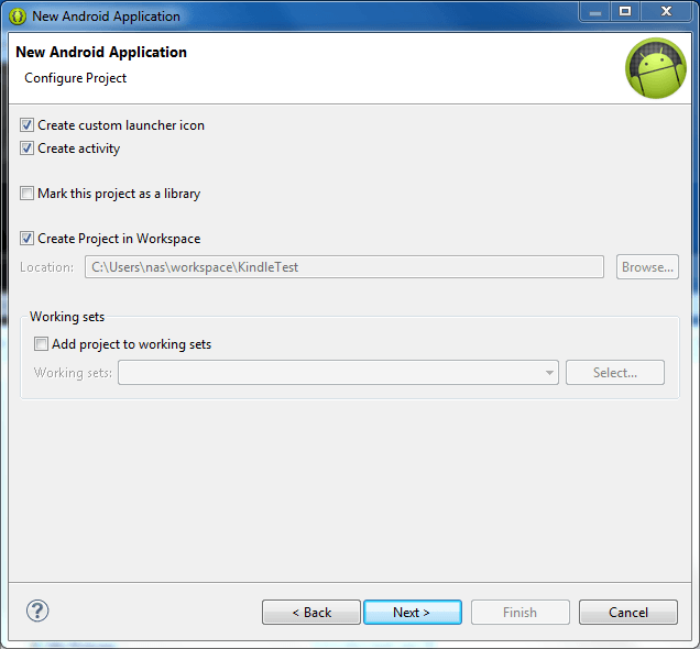 Configuring a new Android project in Eclipse