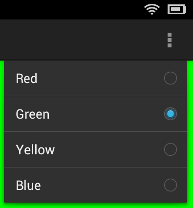 An Android checkable Overflow menu