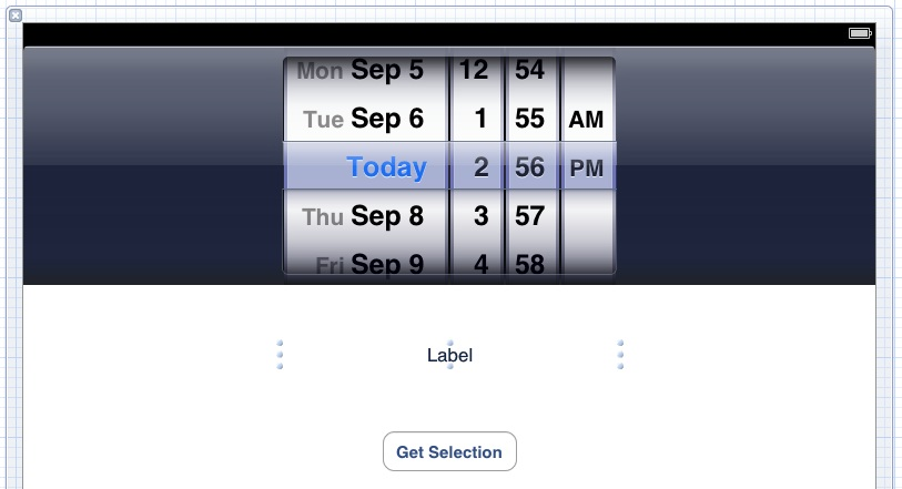 The UI of an iOS 5 iPad date picker example app