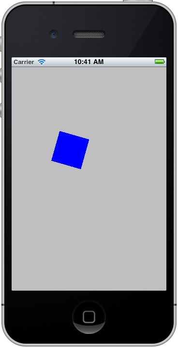 An example Core Animation App running on an iOS 5 based iPhone device