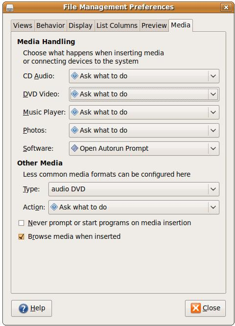 Configuring Ubuntu media settings