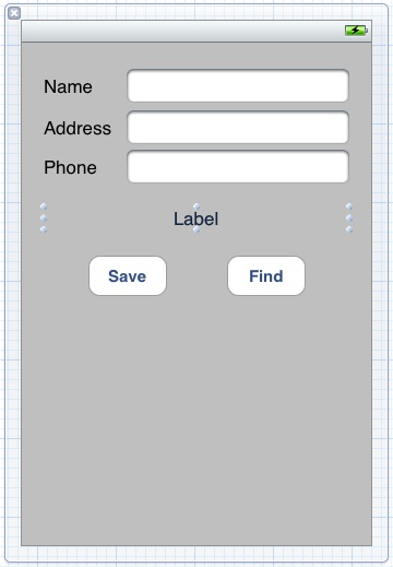 The UI for the iPhone database example in Xcode 4