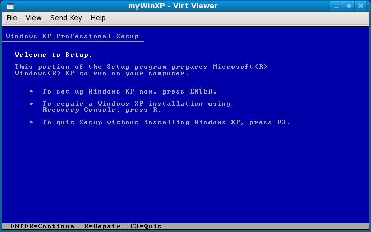 KVM Guest Fedora Installer running in virt-viewer window