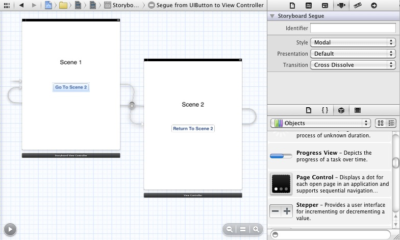 Configuring an Xcode storyboard transition