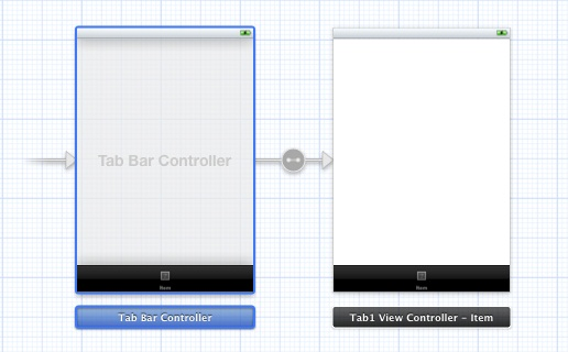 A tab bar controller and view controller in an Xcode storyboard