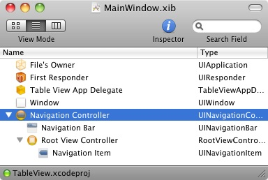 The MainWindow.xib for a Navigation based iPhone application in Interface Builder