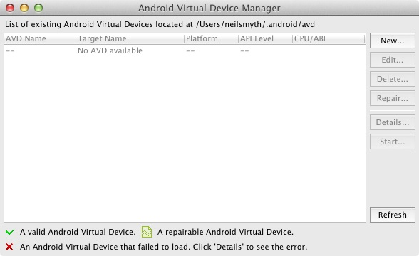 The Android Virtual Device Manager