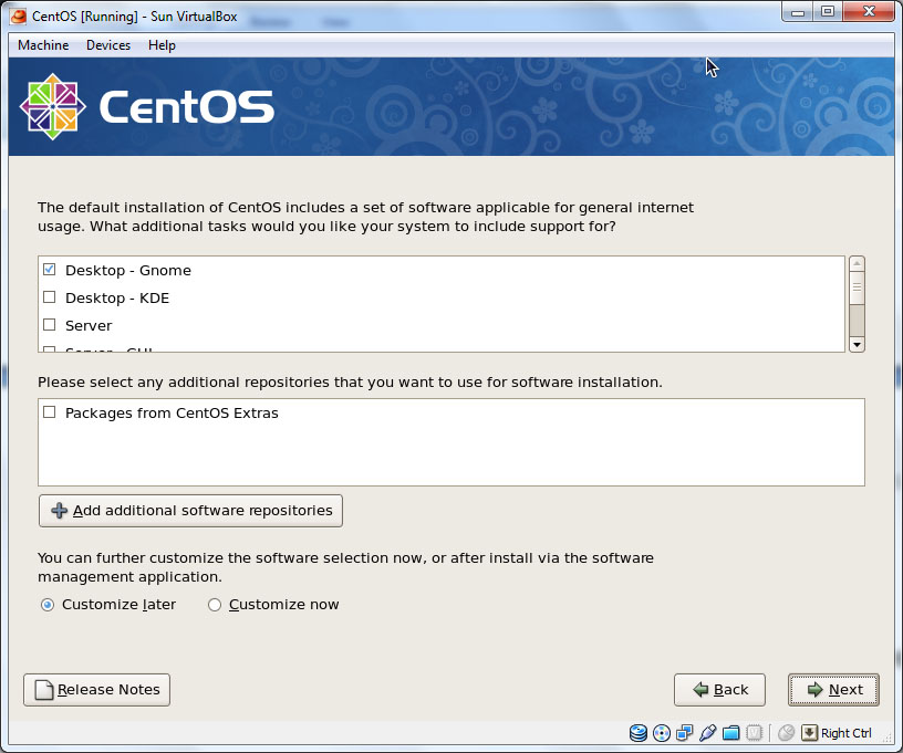 CentOS installation package selection screen