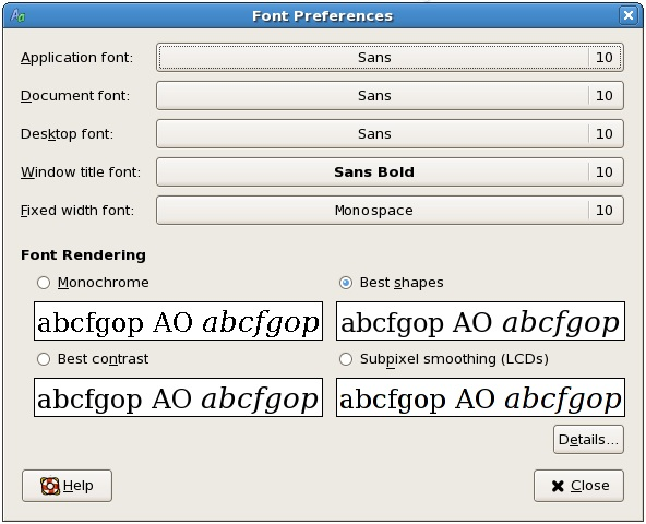 The CentOS GNOME desktop font preferences dialog