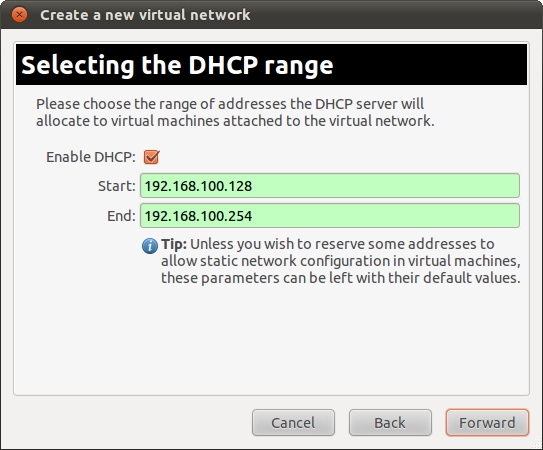 Configuring the DHCP address range for an Ubuntu 11.04 KVm virtual network