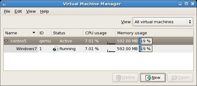 KVM Virtual Machine listed as running in virt-manager