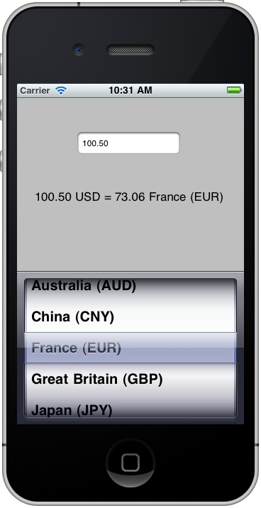 An iOS 4 iPhone PickerView application running