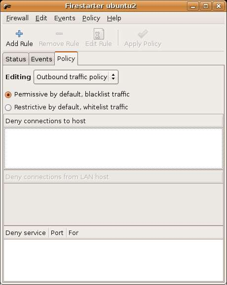 Ubuntu Linux Firestarter Policy Screen