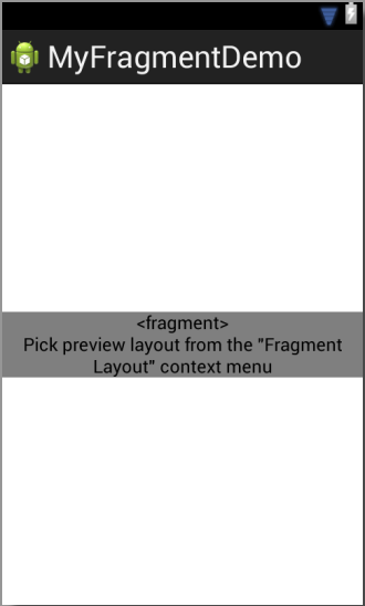 An Android Fragment placeholder in the Graphical Layout Tool