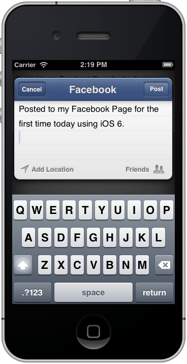 The iPhone iOS 6 UIActivityViewController post preview screen
