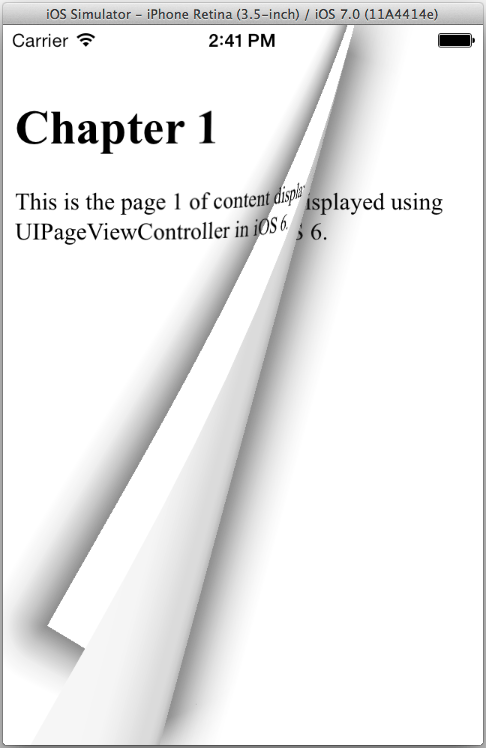 An iOS 7 example UIPageViewController app running