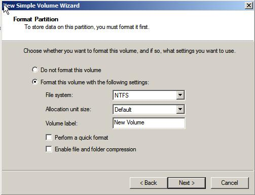 Setting the file system format options in Windows Server 2008
