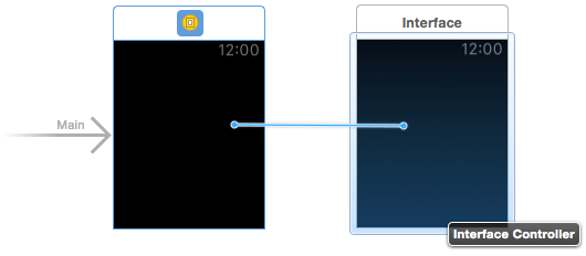 Making a WatchKit segue connection in Interface Builder