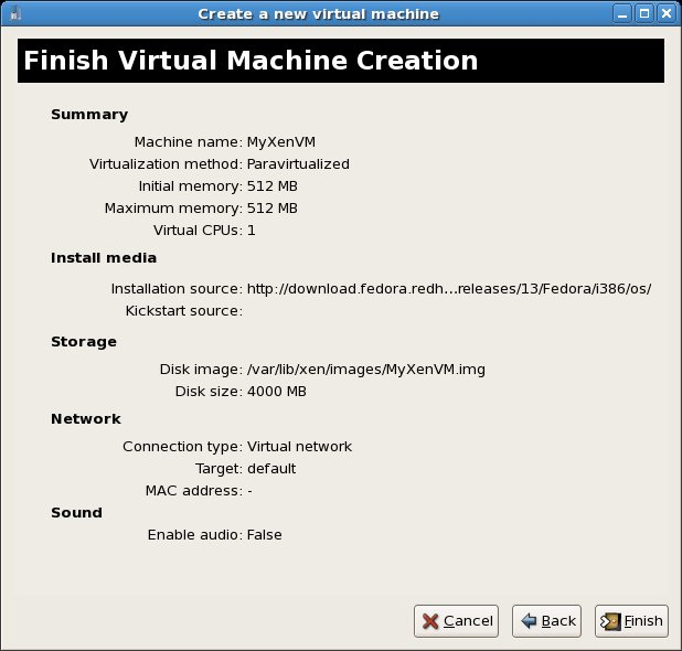 RHEL 5 virt-manager new virtual machine summary screen