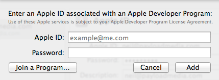 Adding an Apple ID to Xcode 5