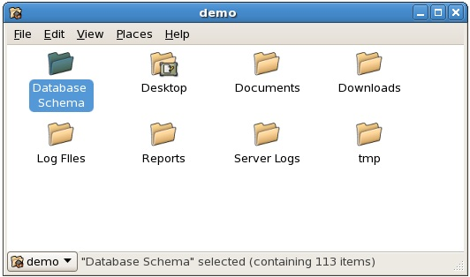 The CentOS File Manager with default icon zoom set to 75%
