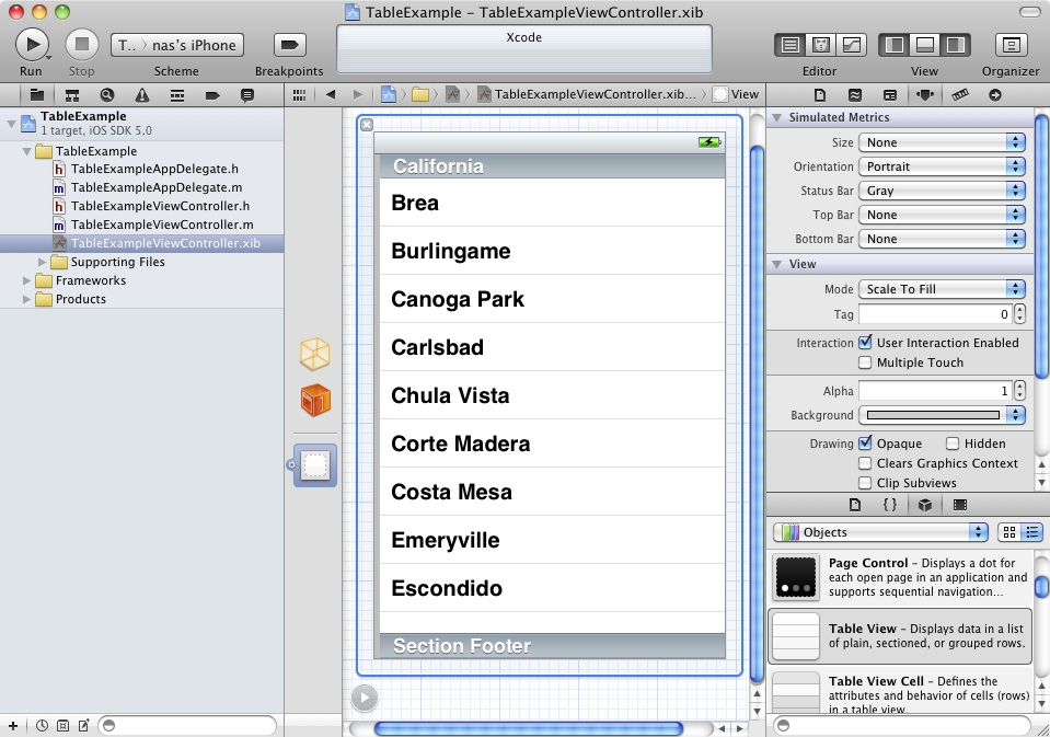A UITableView object in the Xcode Interface Builder View canvas