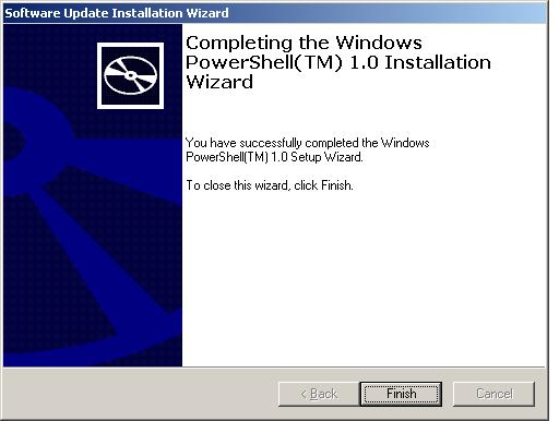 A successful Windows PowerShell 1.0 installation on Windows XP