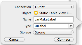 Establishing an outlet connection in Xcode 5