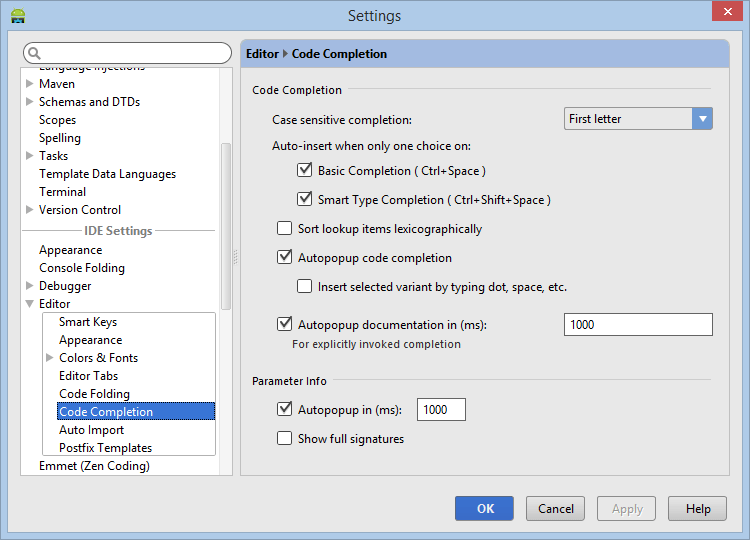 Configuring code completion settings in the Android Studio Editor